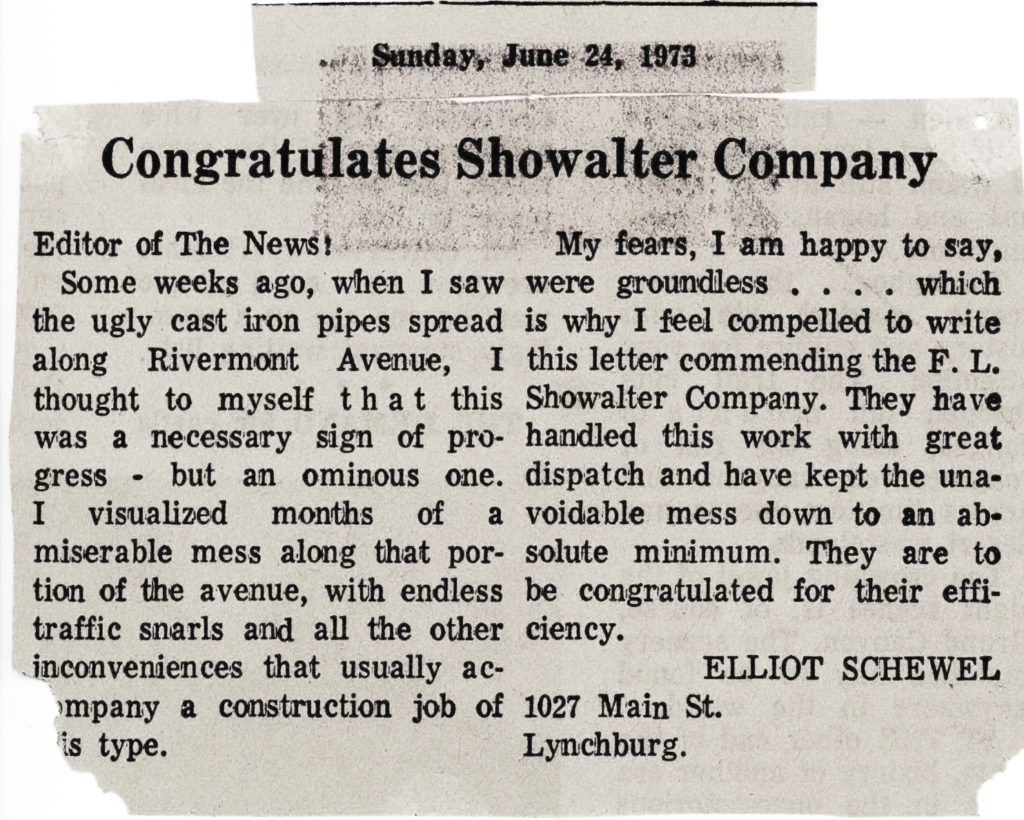 Archive Document from F.L. Showalter History